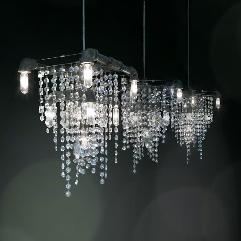 American Tribeca Black Steel and Crystal 9-Light Industrial Chandelier Pendant For Sale