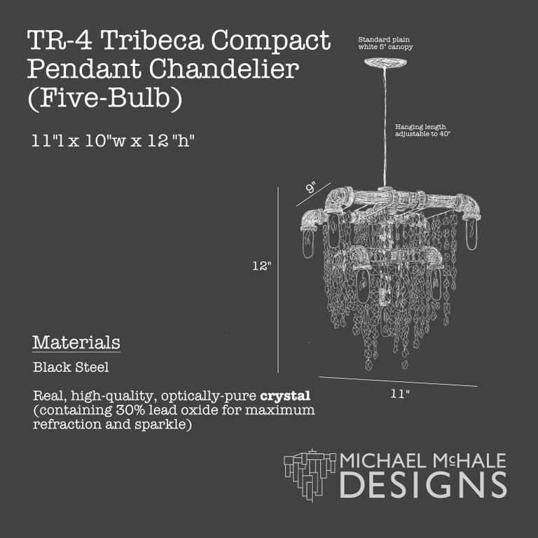 Tribeca Black Steel and Crystal 9-Light Industrial Chandelier Pendant In New Condition For Sale In Long Island City, NY