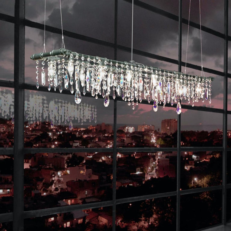 American Tribeca Black Steel and Crystal Industrial 12-Light Chandelier For Sale