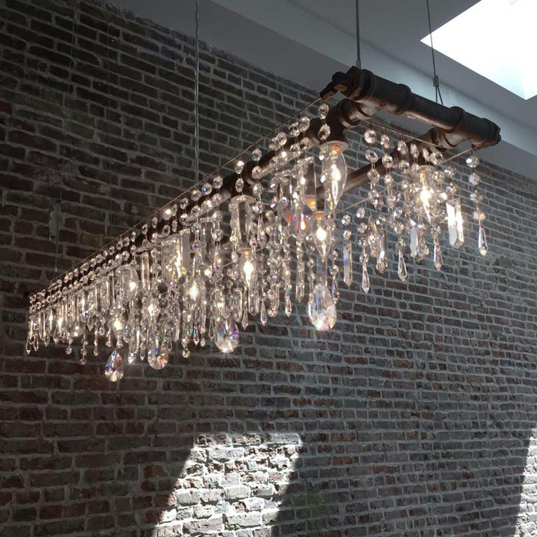 Hand-Crafted Tribeca Black Steel and Crystal Industrial 12-Light Chandelier For Sale