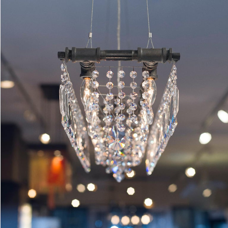 Contemporary Tribeca Black Steel and Crystal Industrial 12-Light Chandelier For Sale