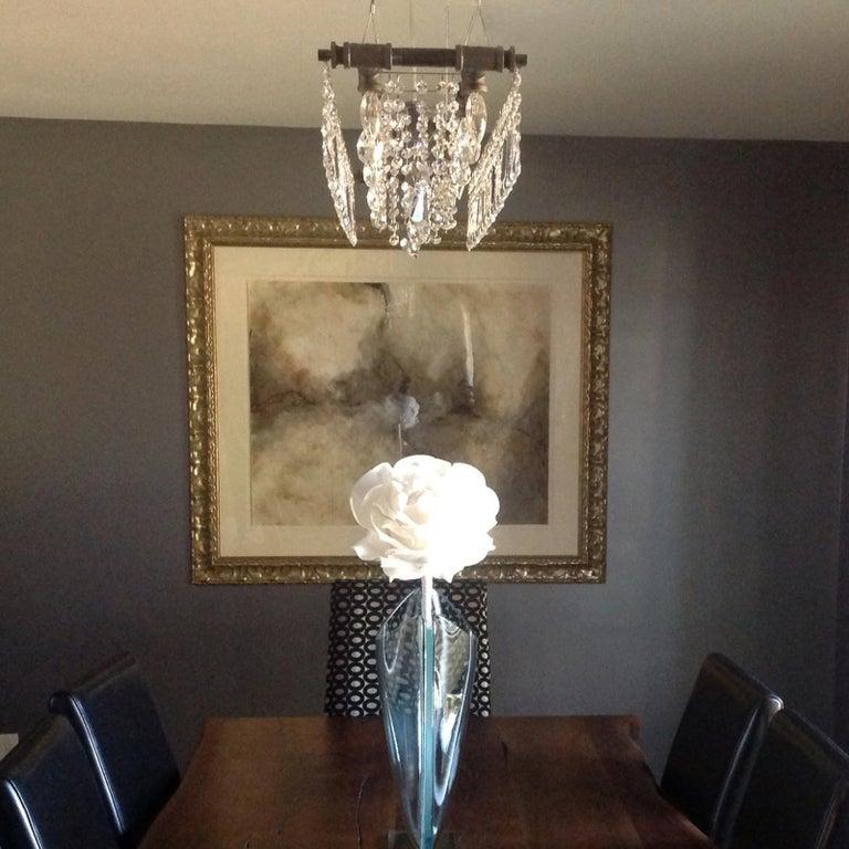 Tribeca Black Steel and Crystal Industrial 12-Light Chandelier For Sale 1