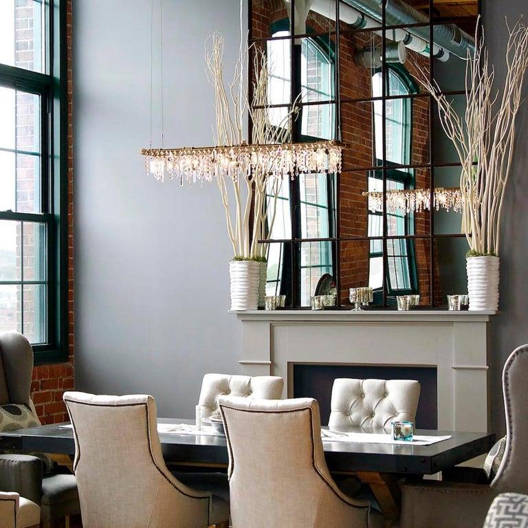 Tribeca Black Steel and Crystal Industrial 12-Light Chandelier For Sale 2
