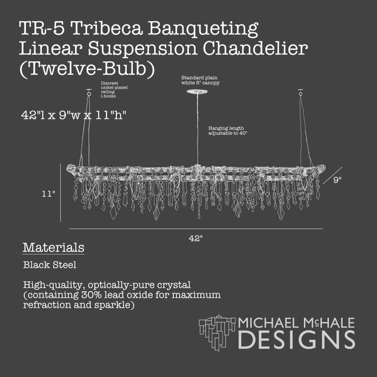 Tribeca Black Steel and Crystal Industrial 12-Light Chandelier For Sale 4