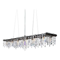 Tribeca Black Steel and Crystal Industrial 12-Light Chandelier