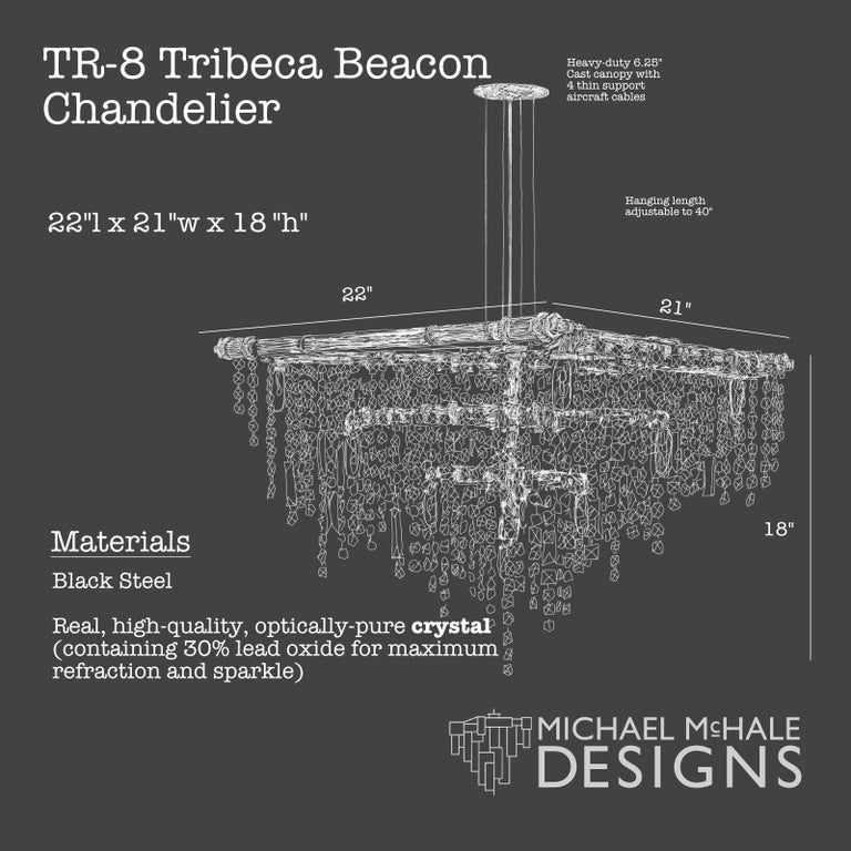 Hand-Crafted Tribeca Black Steel and Crystal Industrial 13-Light Beacon Chandelier For Sale