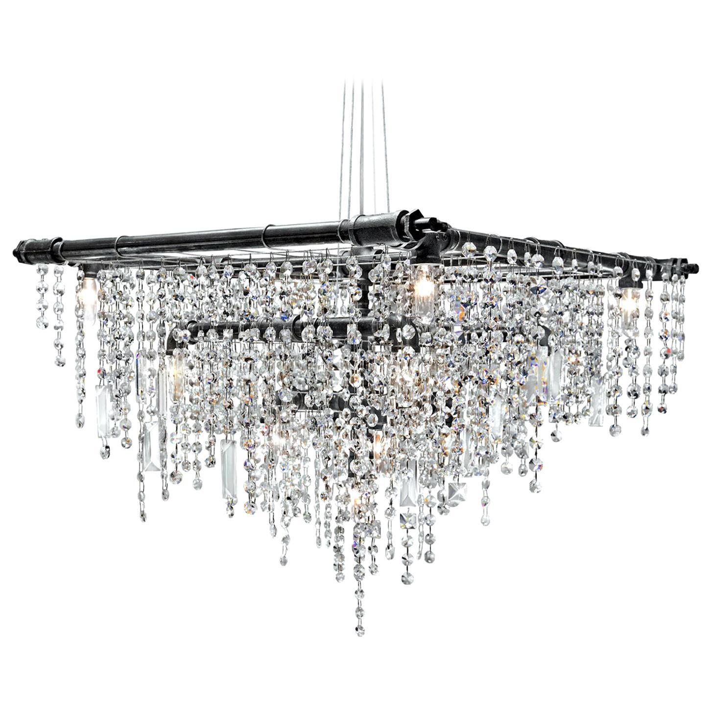 Tribeca Black Steel and Crystal Industrial 13-Light Beacon Chandelier