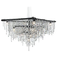 Tribeca Black Steel and Crystal Industrial 13-Light Beacon Chandelier