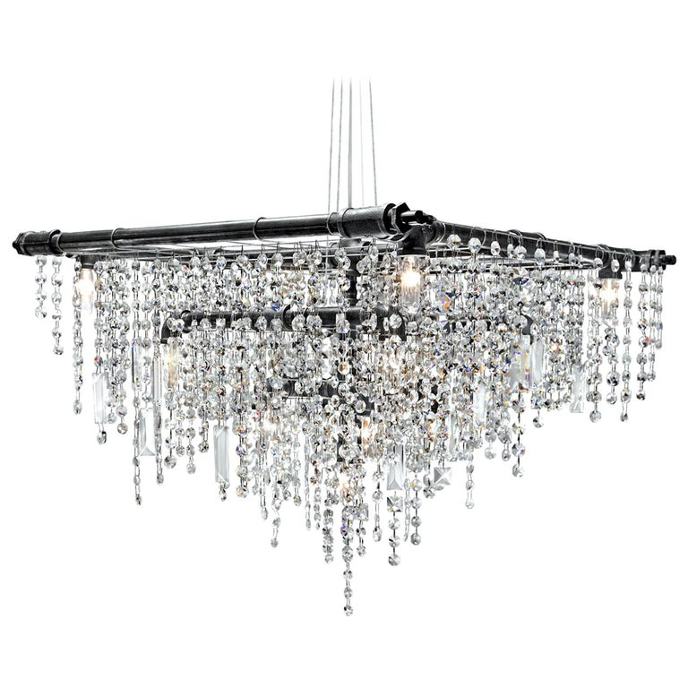 Tribeca Black Steel and Crystal Industrial 13-Light Beacon Chandelier For Sale