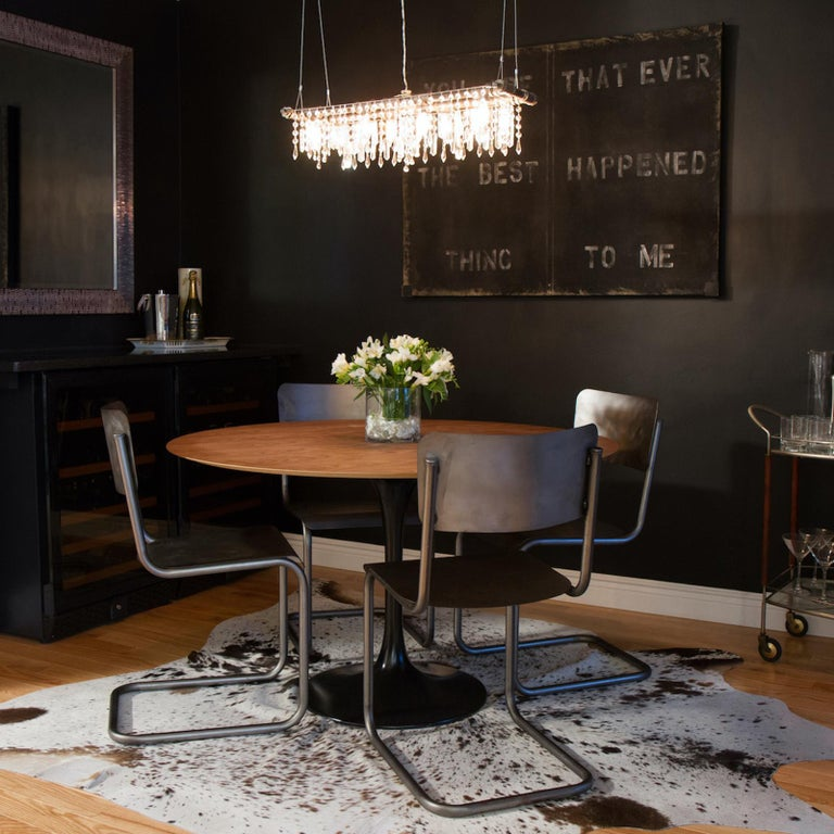 Hand-Crafted Tribeca Black Steel and Crystal Industrial 8-Light Mini-Banqueting Chandelier For Sale