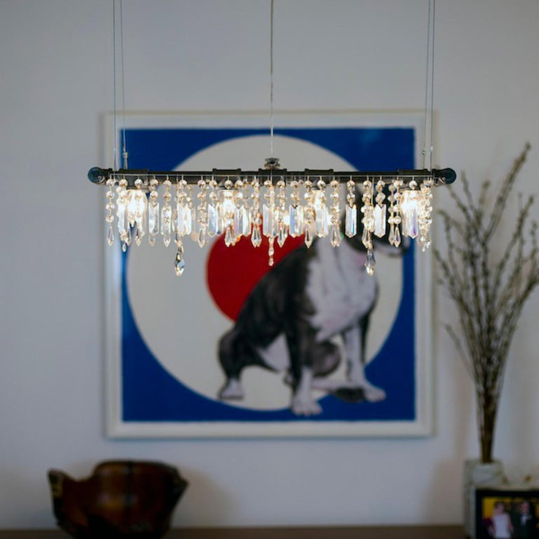 Tribeca Black Steel and Crystal Industrial 8-Light Mini-Banqueting Chandelier In New Condition For Sale In Long Island City, NY