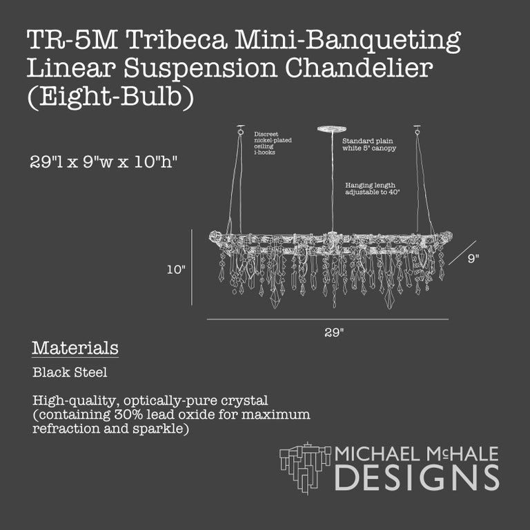 Contemporary Tribeca Black Steel and Crystal Industrial 8-Light Mini-Banqueting Chandelier For Sale