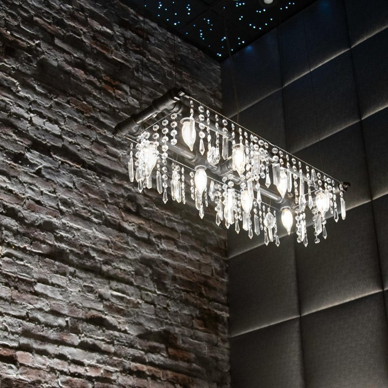Tribeca Black Steel and Crystal Industrial 8-Light Mini-Banqueting Chandelier For Sale 1