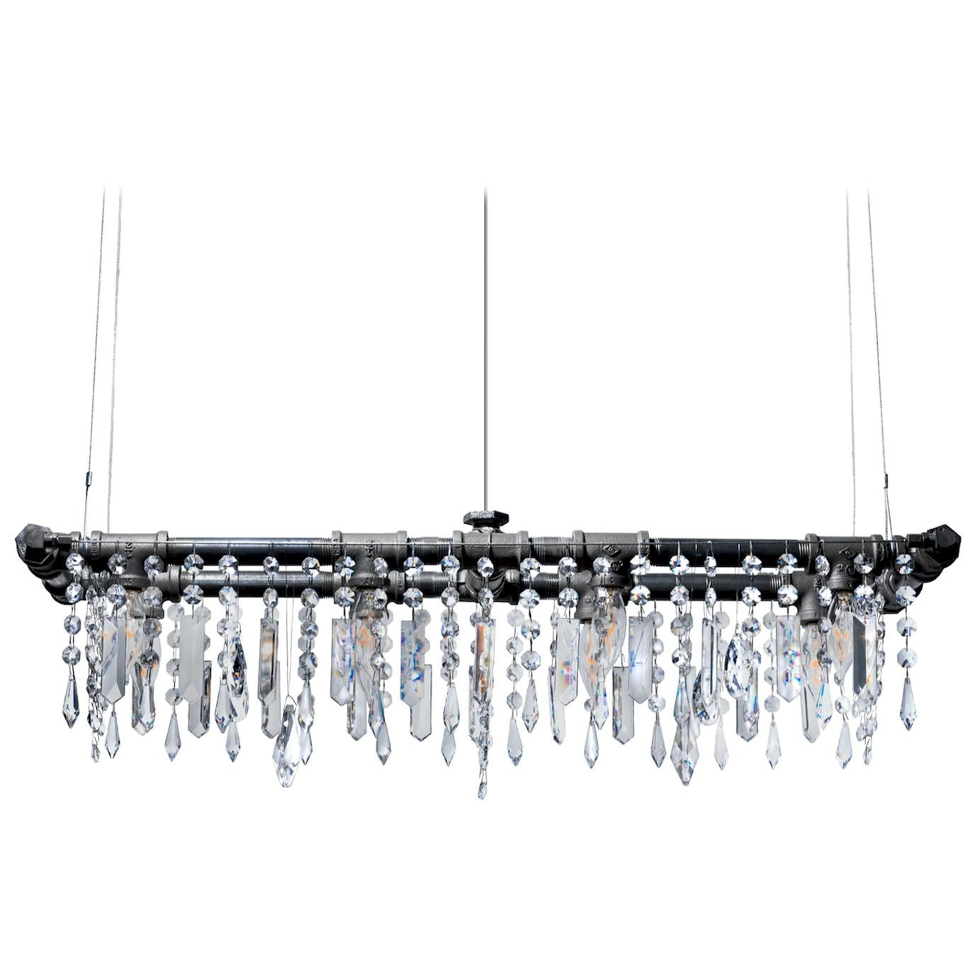 Tribeca Black Steel and Crystal Industrial 8-Light Mini-Banqueting Chandelier