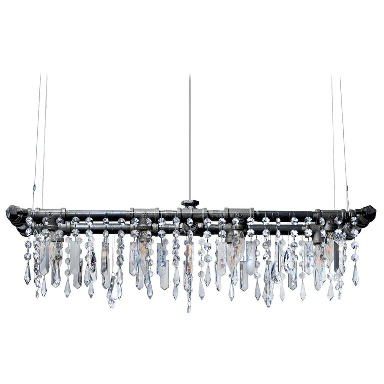 Tribeca Black Steel and Crystal Industrial 8-Light Mini-Banqueting Chandelier For Sale