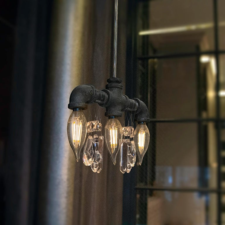 American Tribeca Black Steel and Crystal Industrial Chandelier Pendant '3 Bulb' For Sale