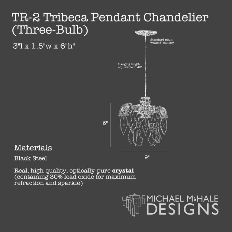 Contemporary Tribeca Black Steel and Crystal Industrial Chandelier Pendant '3 Bulb' For Sale