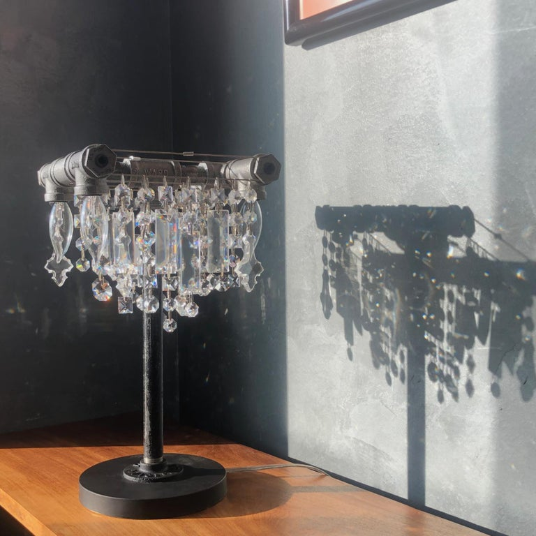 American Tribeca Black Steel and Crystal Industrial Desk Lamp For Sale
