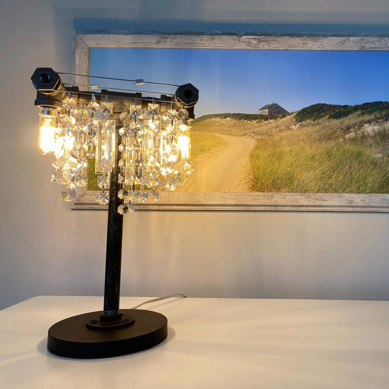 Hand-Crafted Tribeca Black Steel and Crystal Industrial Desk Lamp For Sale