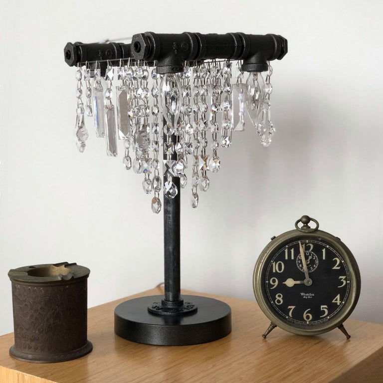 Tribeca Black Steel and Crystal Industrial Desk Lamp In New Condition For Sale In Long Island City, NY