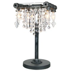Tribeca Black Steel and Crystal Industrial Desk Lamp