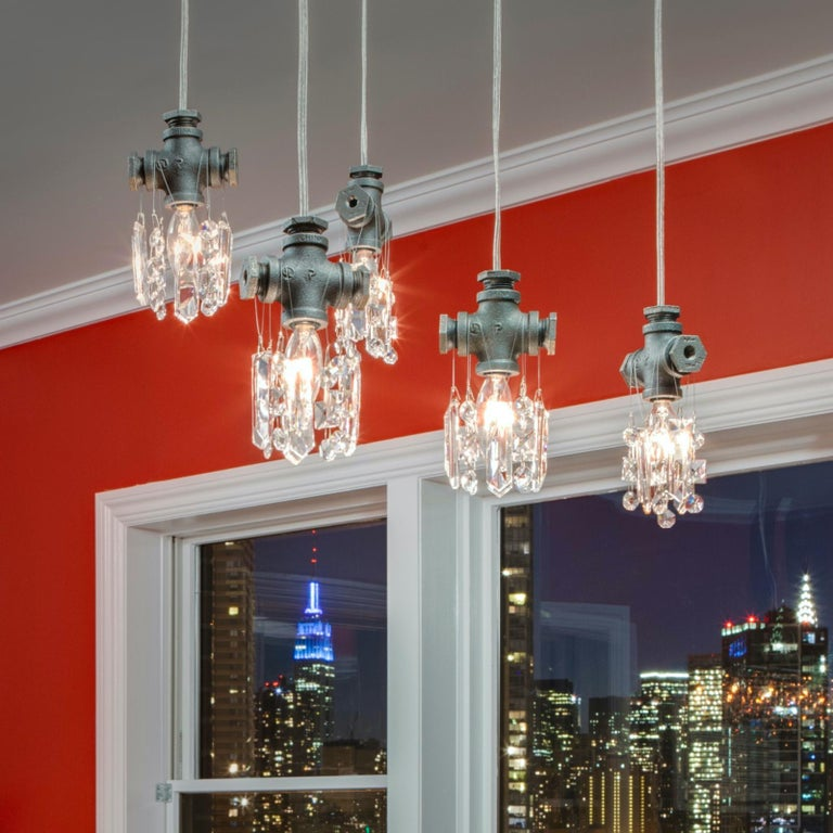 American Tribeca Black Steel and Crystal Industrial Single Light Chandelier Pendant For Sale