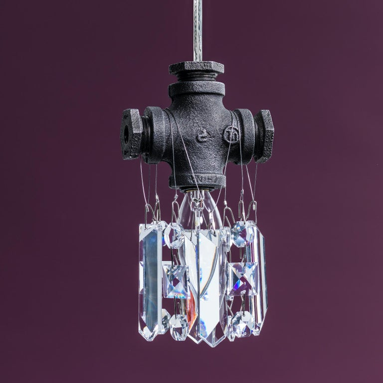 Hand-Crafted Tribeca Black Steel and Crystal Industrial Single Light Chandelier Pendant For Sale