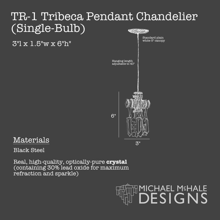 Tribeca Black Steel and Crystal Industrial Single Light Chandelier Pendant In New Condition For Sale In Long Island City, NY