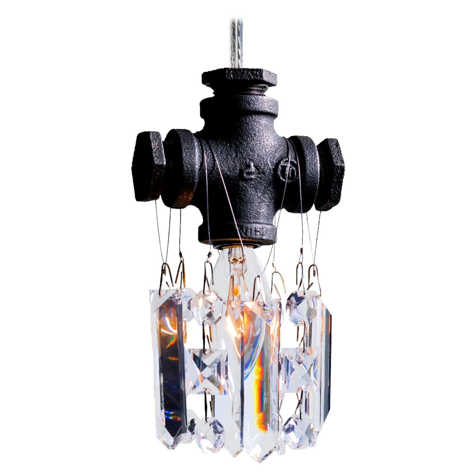 Tribeca Black Steel and Crystal Industrial Single Light Chandelier Pendant