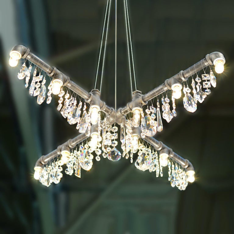 American Tribeca Black Steel and Crystal Industrial X-Chandelier Pendant For Sale