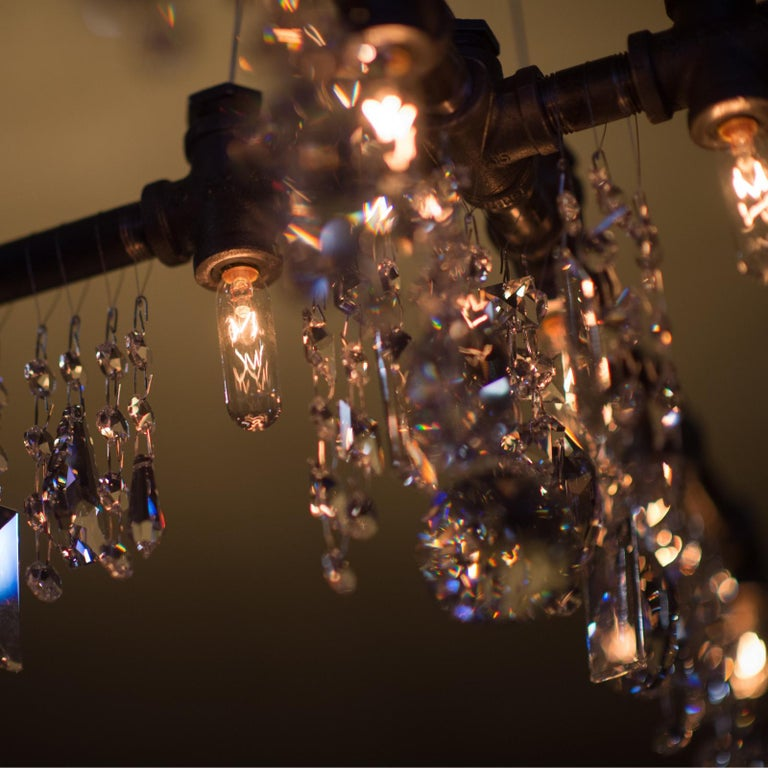 Hand-Crafted Tribeca Black Steel and Crystal Industrial X-Chandelier Pendant For Sale
