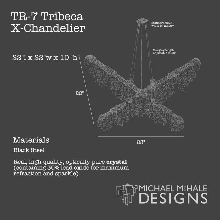 Contemporary Tribeca Black Steel and Crystal Industrial X-Chandelier Pendant For Sale