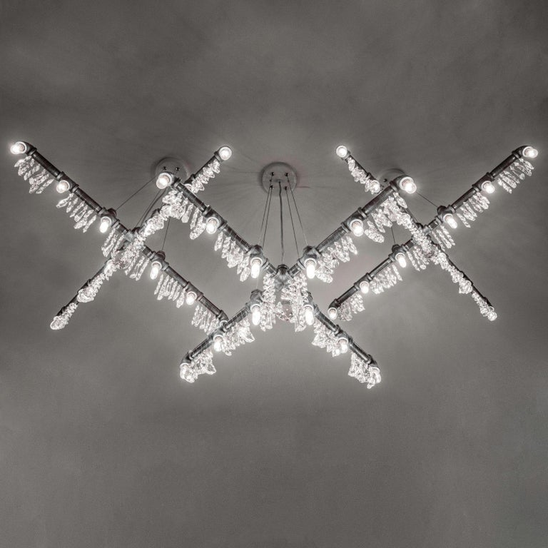 Tribeca Black Steel and Crystal Industrial X-Chandelier Pendant For Sale 1