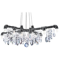 Tribeca Black Steel and Crystal Industrial X-Chandelier Pendant