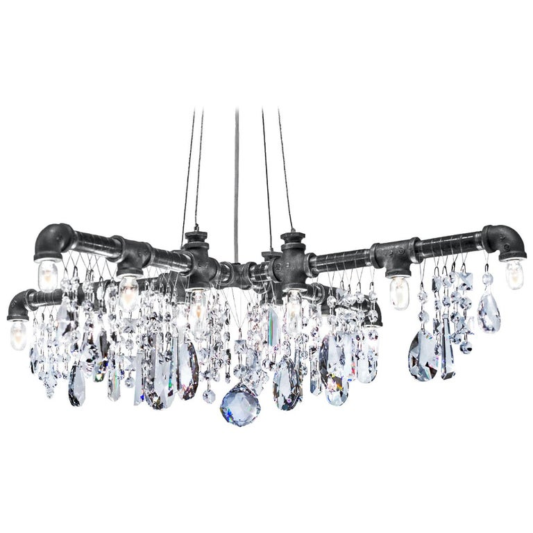 Tribeca Black Steel and Crystal Industrial X-Chandelier Pendant For Sale