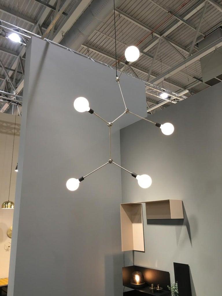 Scandinavian Modern Tribeca Harrison Chandelier, Black, UL & Five TR Matte Bulbs For Sale