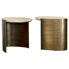 Tribeca Side Table Set 2 in Brass and Travertine by Atra