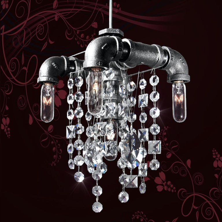 American Tribeca Steel and Crystal Industrial Chandelier Small 5-Light Chandelier For Sale