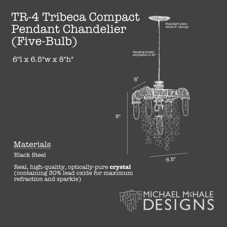 Contemporary Tribeca Steel and Crystal Industrial Chandelier Small 5-Light Chandelier For Sale