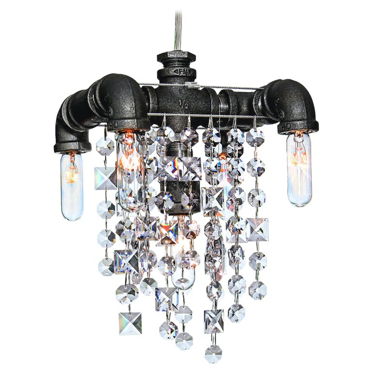 Tribeca Steel and Crystal Industrial Chandelier Small 5-Light Chandelier For Sale