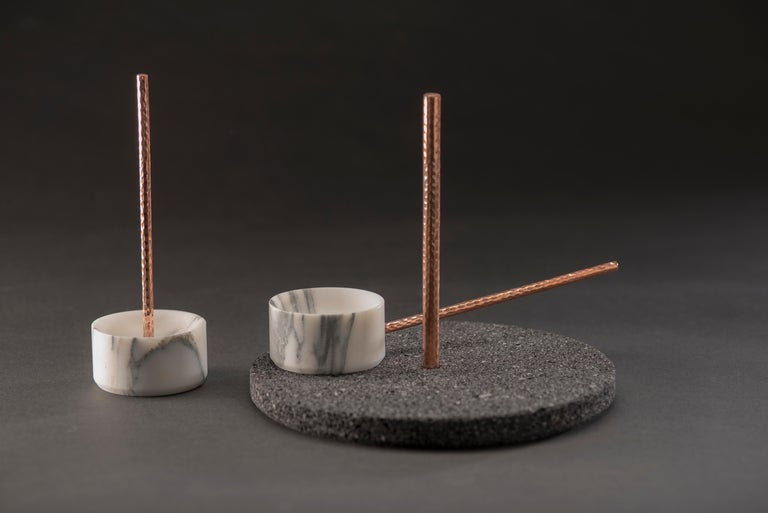Contemporary Tribu Set, White Marble and Volcanic Rock For Sale