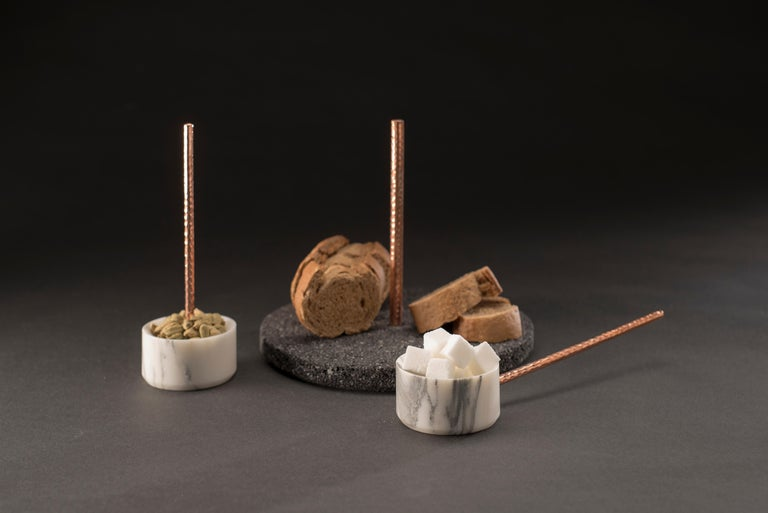 Copper Tribu Set, White Marble and Volcanic Rock For Sale