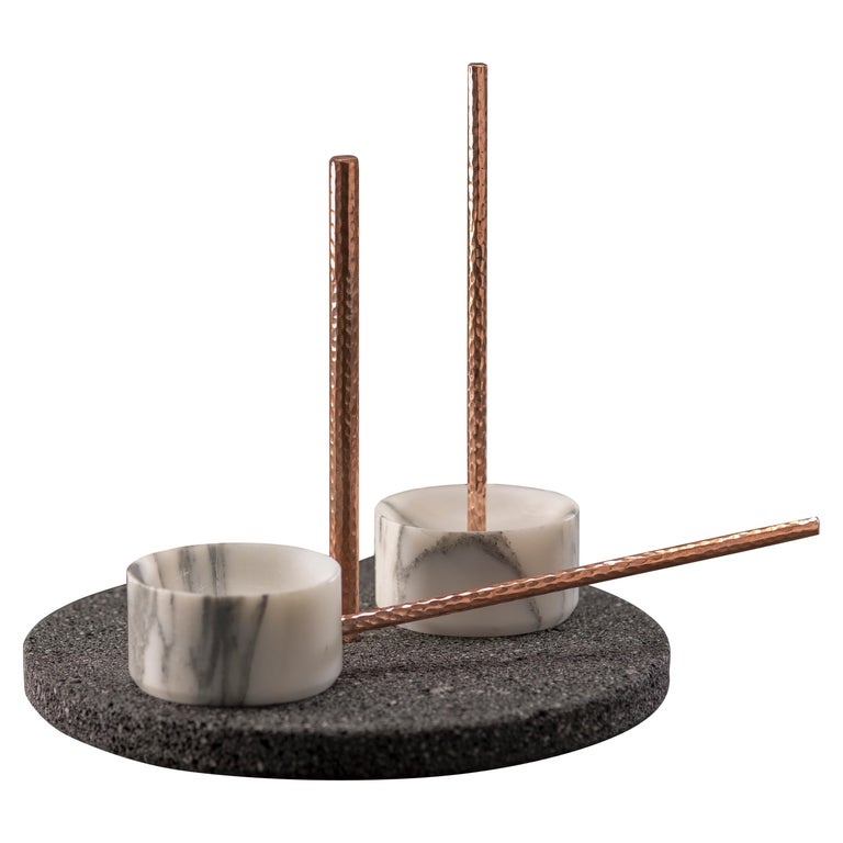 Tribu Set, White Marble and Volcanic Rock For Sale