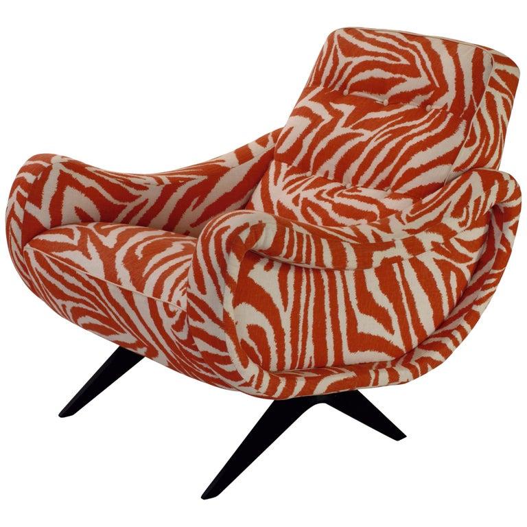 Tribute to Midcentury Design, Italian Armchair in Funky Zebra For Sale