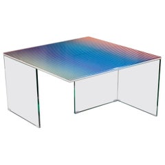 Trichroic Table Made with Three Layers of Glass with a Layer of Colored Bands