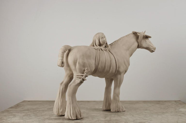 Loud Neigh - Gray Figurative Sculpture by Tricia Cline