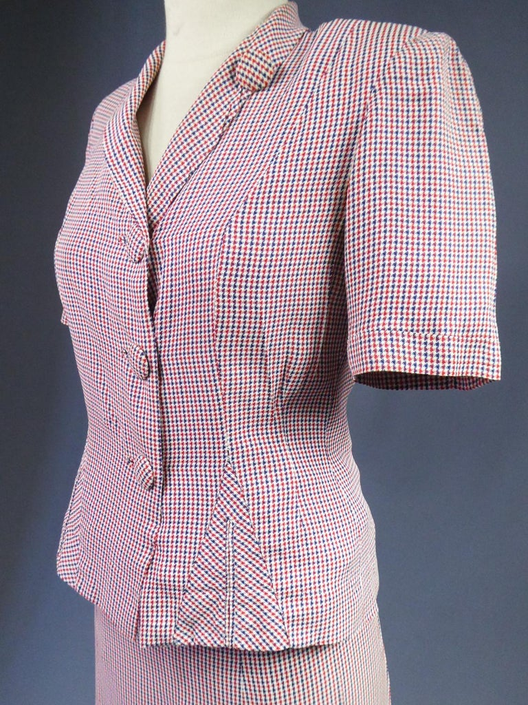 Tricolor Bar Suit From Liberation - France Circa 1945 For Sale 6
