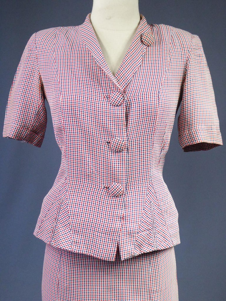 Women's Tricolor Bar Suit From Liberation - France Circa 1945 For Sale