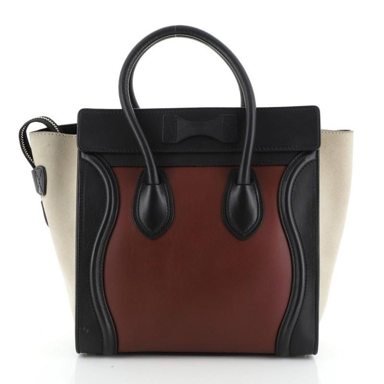 Black Tricolor Luggage Bag Leather Micro For Sale