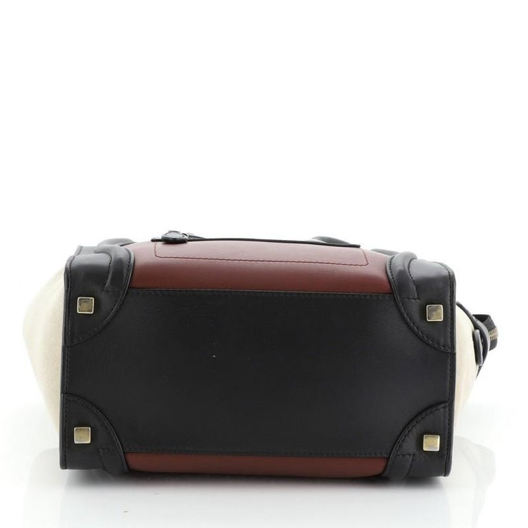 Tricolor Luggage Bag Leather Micro In Good Condition For Sale In New York, NY